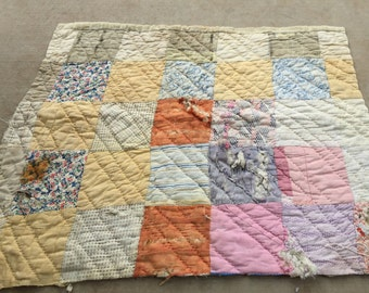 Vintage Hand Quilted Well Loved Patchwok Cutter Quilt Piece