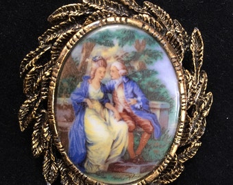 Vintage Courting Couple Pin or Brooch Pendant