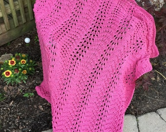 Vintage Pink (Dusty Rose) Hand Crochet Afghan/Lap Throw