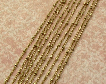 Satellite Chain With 2.5mm Balls And 2mm Rolo links, Soldered, Satin Hamilton Gold, 6' AG282
