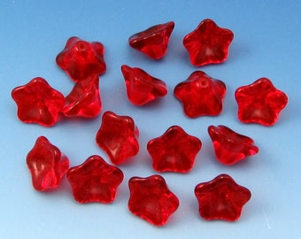 3-Petal Glass Flower Beads, Red, 12 MM, 12 Pc. C465