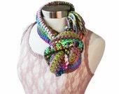 Crochet Fringe Gypsy Hippie Infinity Scarf Cowl