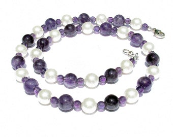 Amethyst Pearl Necklace Purple and White Necklace Gemstone Pearl Necklace Purple Gemstone Necklace Amethyst Necklace