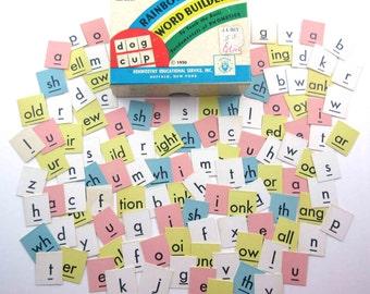 Vintage 1950s Rainbow Word Builders Phonetics Letter Cards Set of 113