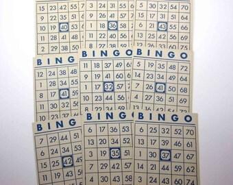 Vintage Blue and Ivory Bingo Cards Set of 9