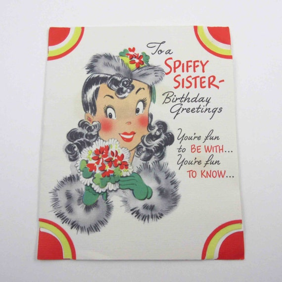 Items Similar To Vintage Birthday Greeting Card For Sister