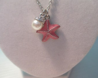 Pink Starfish and Pearl Necklace