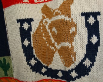 Vintage Sweater Loft Texas Sweater, Made in the USA, New York, Horse Shoe, Lone Star Texas, Rodeo Cowboy, Bull, Stock Show, State of Texas