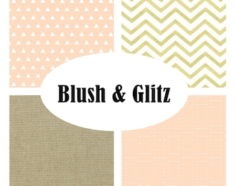 Custom Crib Bedding-3 piece-BLUSH & GLITZ