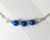 Denim Lapis Lazuli and Sterling Silver Adjustable Bar Necklace
