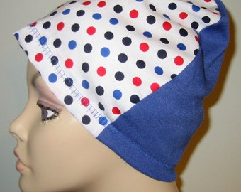 Polka Dots Lightweight  Hat, Cancer, Alopecia, Sleep Cap,  Chemo Hat