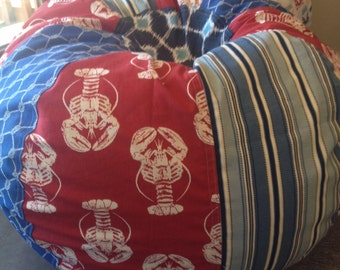 Maine Lobster Nautical Bean Bag chair with stripes rope print dots red white and blue