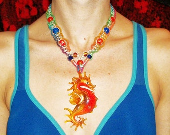 Blown Glass Seahorse Pendant on Rainbow Hemp Necklace - Lampwork Glass Sea Horse Hemp Jewelry - Sea Dragon Serpent
