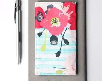 Navy and Pink Floral Fabric Checkbook Holder, Cute Coworker Gift