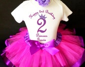 Princess Crown Purple Hot pink 2nd Second Girl Birthday Tutu Outfit Custom Personalized Name Age Party Shirt Set