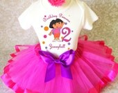 Dora Orange Pink Purple the explorer 2nd Second Girl Birthday Tutu Outfit Custom Personalized Name Age Party Shirt Set