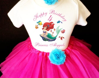Ariel Little Mermaid Pink Blue 4th Girl Birthday Tutu Outfit Custom Personalized Name Age Party Shirt Set