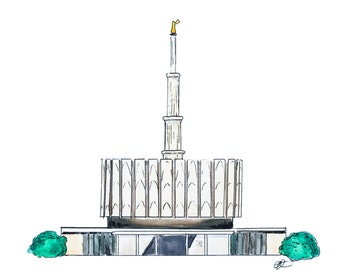 Provo Utah LDS Temple Watercolor Print