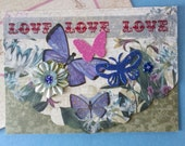 Assemblage collage greeting card single #1~ Butterfly garden