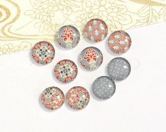 10pcs handmade assorted style round clear glass dome cabochons 12mm (12-0417)