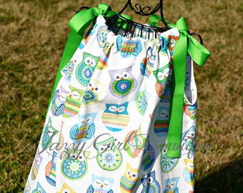 Girls Pillowcase Dress Colorful Owls with Green Ribbon Ties Sz 6mo, 12mo, 18mo, 2T, 3T, 4T, 5 Sz 6, 7, 8 Three Dollars More