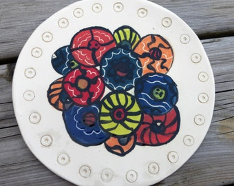 multicolor bold circles plate ceramics white background decorative plate serving plate plate collectibles