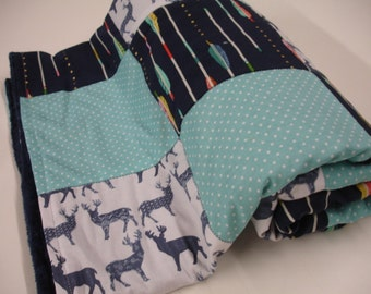 Meadow Deer and Arrows Aqua and Navy Minky Comforter Blanket You Choose Size and Minky Color MADE TO ORDER