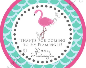 Pink Flamingo Party Thank You PERSONALIZED Stickers, Tags, Labels, or Cupcake Toppers, various sizes, printed & shipped