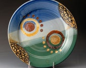Ceramic Dinner Plate, Stoneware,  Blue and Green