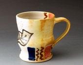 Cup, Handmade Ceramic Mug with Leaf Motif, Clay Mug, Drinking Vessel, Beverage, Coffee Cup, Teacup