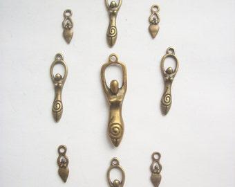 9 Assorted Goddess Gaia Venus Charms & Pendant Bronze Tone Metal