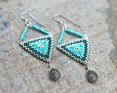 Triangle Turquoise, Teal Blue Silver Peyote Stitched, Geometric, Gray Labradorite Gemstone, Bead Woven Handmade Earrings, Geometric Jewelry