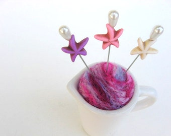 SHOP CLOSING SALE - Pin Cushion - Needle Felted - In Tiny Ceramic Pitcher - Pink And Purple With Starfish Stick Pins