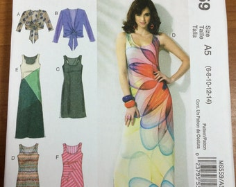 McCalls 6559 Sewing Pattern Maxi Dresses cardigan tank Sizes 6-8-10-12-14