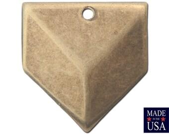 1 Hole Brass Ox Plated Geometric Triangle Charms Drops 18x18mm (6) mtl076E