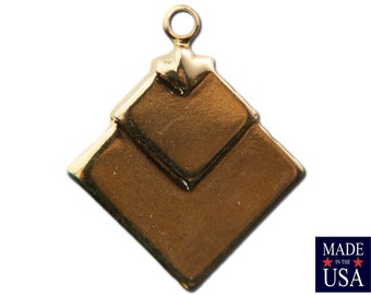 1 Loop Gold Plated Deco Layered Square Connector Pendants  (6) mtl407H