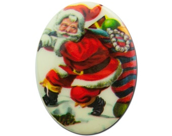 Vintage Retro Santa With Toy Sack Cabochon 40mm X 30mm (1) cab001D