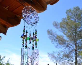 Windchime Rainbow and Butterflies Glass Small