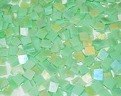 100 1/2 Inch Mint Green Iridescent Stained Glass Mosaic Tiles