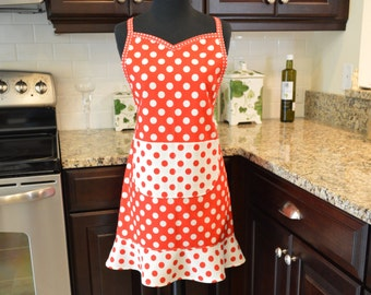 SweetHeart Apron - Sassy Apron - Fancy Apron - Kitchen Apron - Le Creme Dots in Red and White