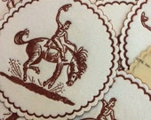 1950s Cowboy Bucking Bronco Paper Embossed Drink Coasters