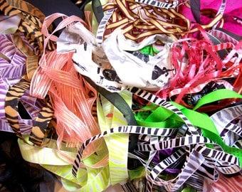 Halloween Ribbon Scraps x 1/2 lb, Bag of Assorted Ribbon and Trim Scraps, Ribbon Grab Bag