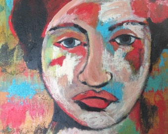 Original canvas PAINTING  ready to hang Woman with Hibiscus textured canvas
