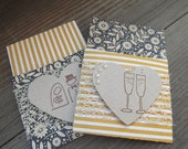 Wedding Bliss Gift Card Holders. Set of 2. Bride and Groom. Champagne Glasses. Rustic.