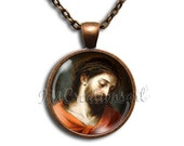 Jesus Christ Vintage Art - Round Glass Dome Pendant Necklace by IMCreations - AP111