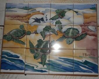 12 Piece Ceramic Tile Hand Painted Mural By Paul Brent Vintage 1992 Hand painted Mural of Sea Turtles Hatching