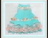 All Done Designer Dress in Aqua and Blush ReadyTo Ship