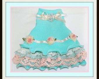 All Done Designer Dress in Aqua and Blush ReadyTo Ship