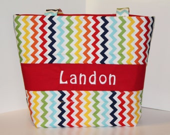Personalized Chevron Diaper bag  Weekender / XL size . Rainbow Chevron . monogrammed FREE . boy diaper bag baby shower gift