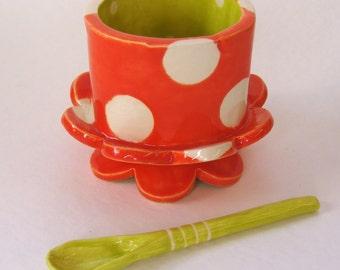 tangerine Salt Cellar ceramic serving dish w/ ceramic spoon, colorful whimsical pottery polka-dots fun chartreuse & orange decor